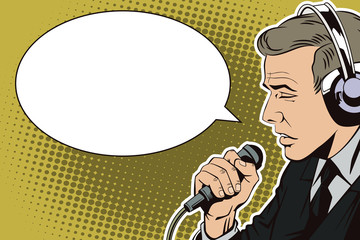 People in retro style pop art and vintage advertising. A man with a microphone.