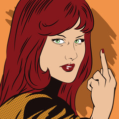 Stock illustration. People in retro style pop art and vintage advertising. Girl shows rude gesture.