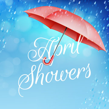 Umbrella in the rain. EPS 10