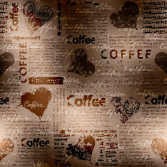 Coffee pattern on blurred background