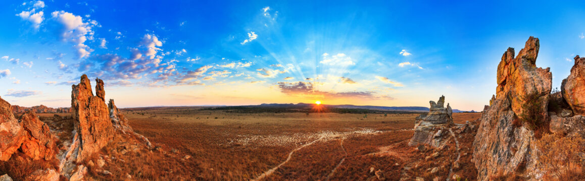 Beautiful panorama of the afternoon sunset at 'La Fenetre', in Isalo national park in Madagascar