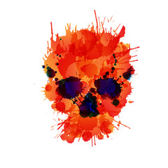 Poster Crâne aquarelle Skull made of colorful splashes