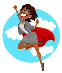 dark skinned business woman with a superheros cape flying in the sky