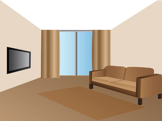 Sofa with carpet and television on modern living room