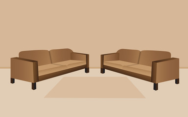 Two modern sofa on living room with brown carpet