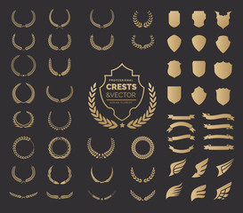 Crest logo element set,Coat of arms,Set of award laurel wreaths and branches,vector illustration.