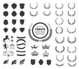 Crest logo element set,Coat of arms,Set of award laurel wreaths and branches,vector illustration.