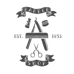 Barber shop. Trendy elements about hairdresser theme. Hipster logotype. Isolated.