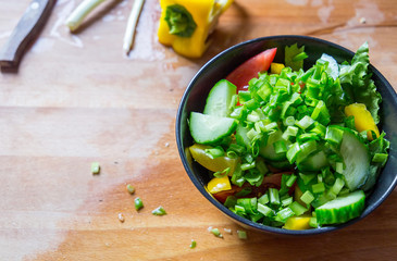 Prepare a Healthy Paleo Fresh Mixed Salad, Top View, Free Space for Text