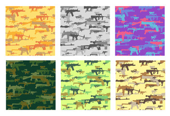 Collection of seamless patterns with camouflage made from weapons. Different colors.