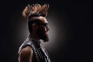 Punk rocker with a Mohawk hairstyle