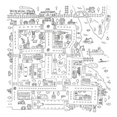 Doodle city map. Isolated.