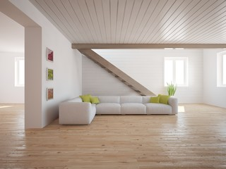 Wooden interior of living room with colored furniture