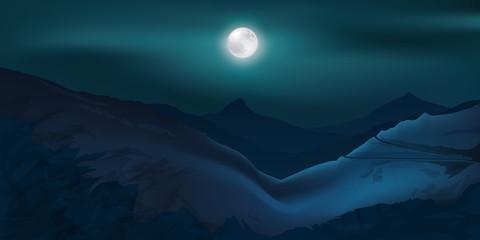 Paysage - Clair de lune - Montagne