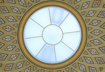 round glass dome and ceiling painting