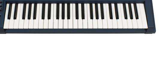 keyboard in blue casing on white background