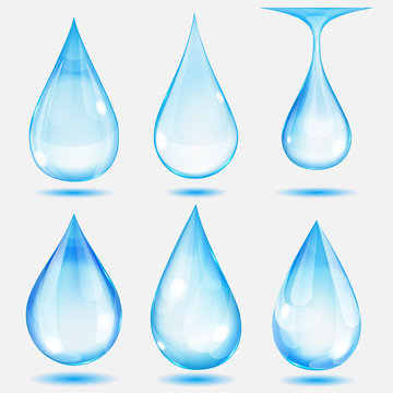 Set of transparent drops in light blue colors. Transparency only in vector file