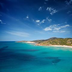 Idyllic coastal landscape in a sunny calm day