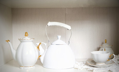 Vintage white tea pot