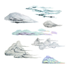 Collection of watercolor clouds. Isolated. Beautiful sky.