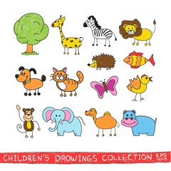 Funny zoo in child hand drawing image. Cartoon illustration of cute animals vector doodles set