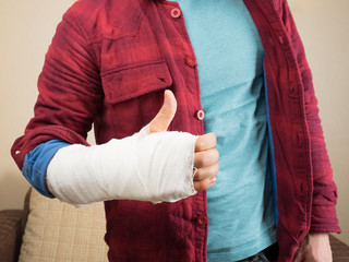 Broken hand with bandage