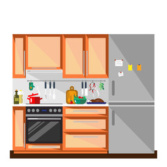 Kitchen in flat style - vector illustration. Colorful kitchen and furniture interior. Home kitchen interior design.
