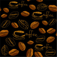 Seamless pattern with handdrawn coffee cups, beans, calligraphic