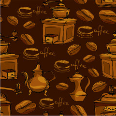 Seamless pattern with handdrawn coffee cups, beans, grinder, cof