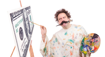 Concentrated painter paints banknotes with a brush in his mouth