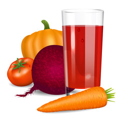 Vegetables juice. Tomato, carrot, pumpkin and beets.