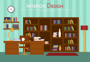 Vector flat illustration of room, lounge with bookshelf, table with lamp, cup, armchair on the floor with carpet rug. Books with clock, in indoor cabinet in home, library, apartment