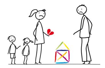 Familie in Trennug, Mutter, Vater und Kinder, Streit um das Eigenheim, die Kinder und ein zerbrochenes Herz