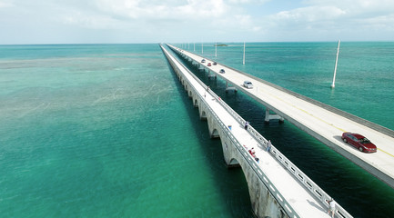 Aerial view of Bridge connecting Keys, Florida