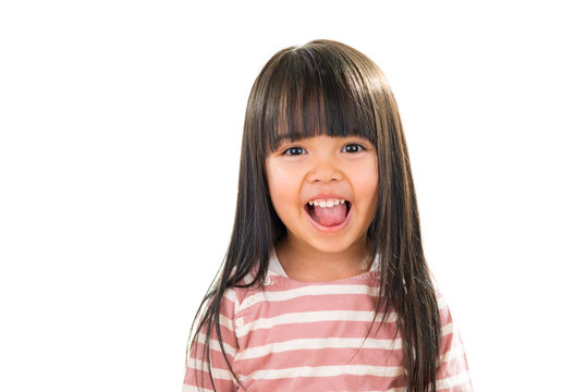 Asian smiling little girl portrait isolated on white