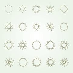 Polygons and polygrams sacred geometry vector set (variable line)