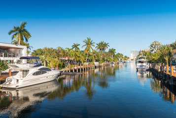 Fort Lauderdale, Florida. Beautiful view of city canals