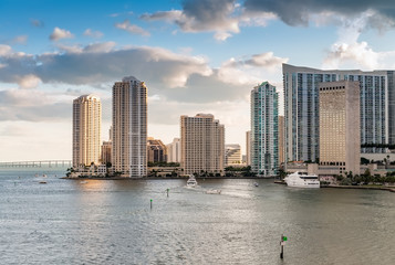 Downtown Miami buildings after sunset. Beautiful city skyline