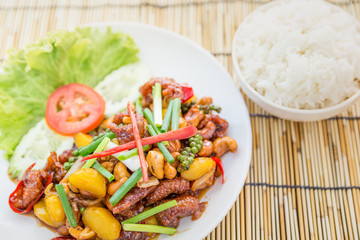 Thai cuisine Stir-fried Chicken with cashew nuts