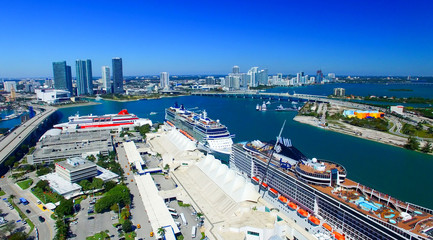 MIAMI - FEBRUARY 27, 2016: Cruise ships docked in Miami port. Th