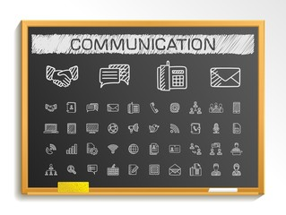 Communication hand drawing line icons. Vector doodle pictogram set. chalk sketch sign illustration on blackboard with hatch symbols, business, social, internet, mail, chat, meeting and speech.