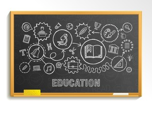 Education hand draw integrated icons set on school board. Vector sketch infographic circle illustration. Connected doodle pictograms, social, elearn, learning, media, knowledge interactive concepts