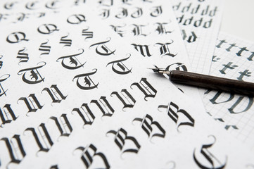 Calligraphy in Gothic style, the old font texture