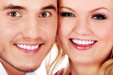 Closeup portrait of  beautiful young couple