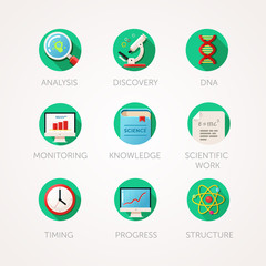 Science icons set. Modern flat colored illustrations. Physics and biology related icons.