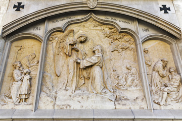 War Memorial on Graz Cathedral wall dedicated to Saint Giles