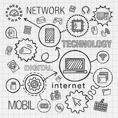 Technology hand draw integrated icons set. Vector sketch infographic illustration. Line connected doodle hatch pictogram on paper. computer, digital, network, business, internet, media, mobile concept
