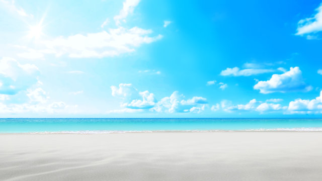 Sandcastle beach on bright sky. 3d rendering