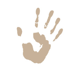 Abstract colorful hand print on white background. Vector illustration.