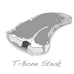 raw T-bone vectoron white background